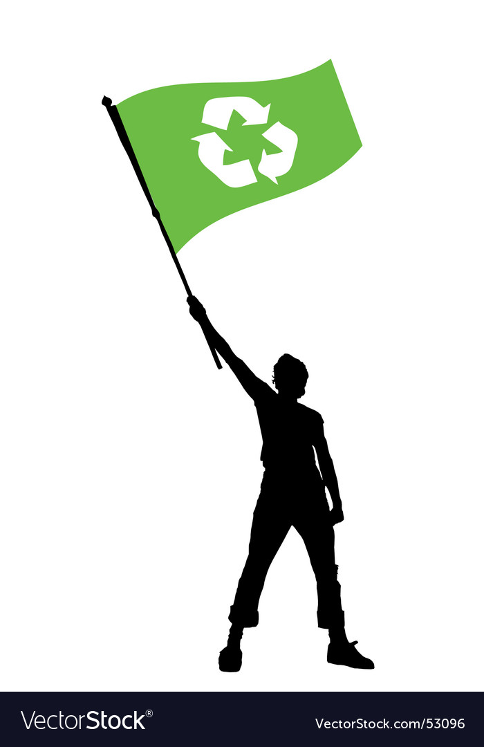 Man holding a recycle flag vector