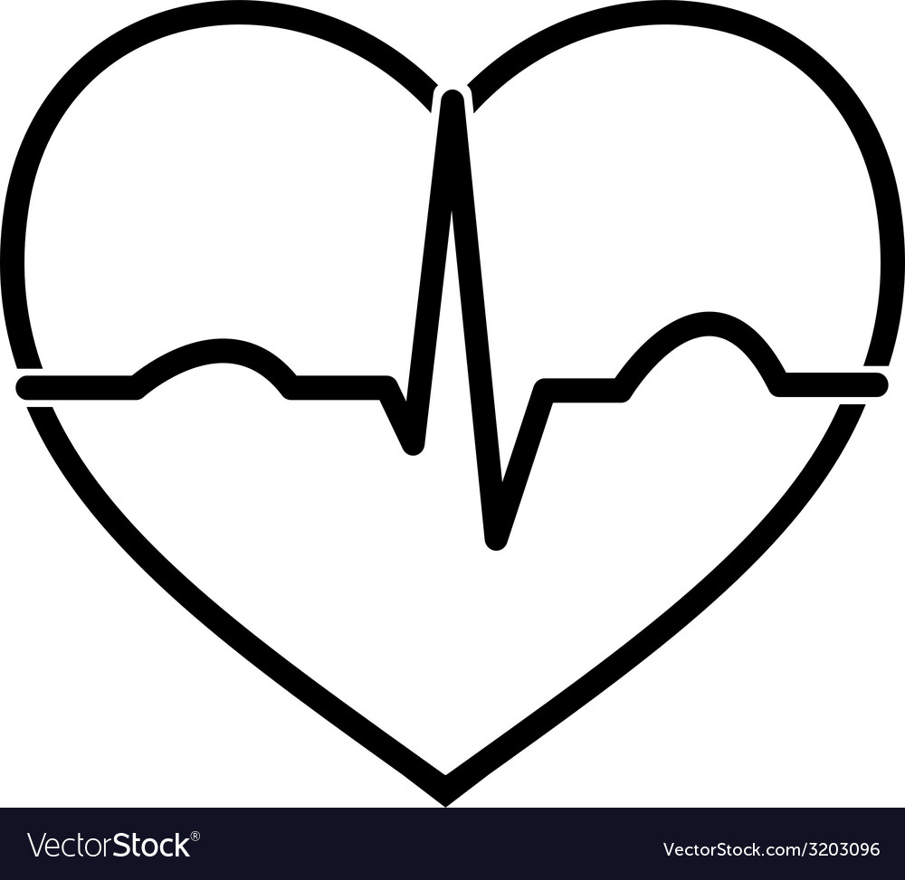 Minimal black and white heart ecg icon vector