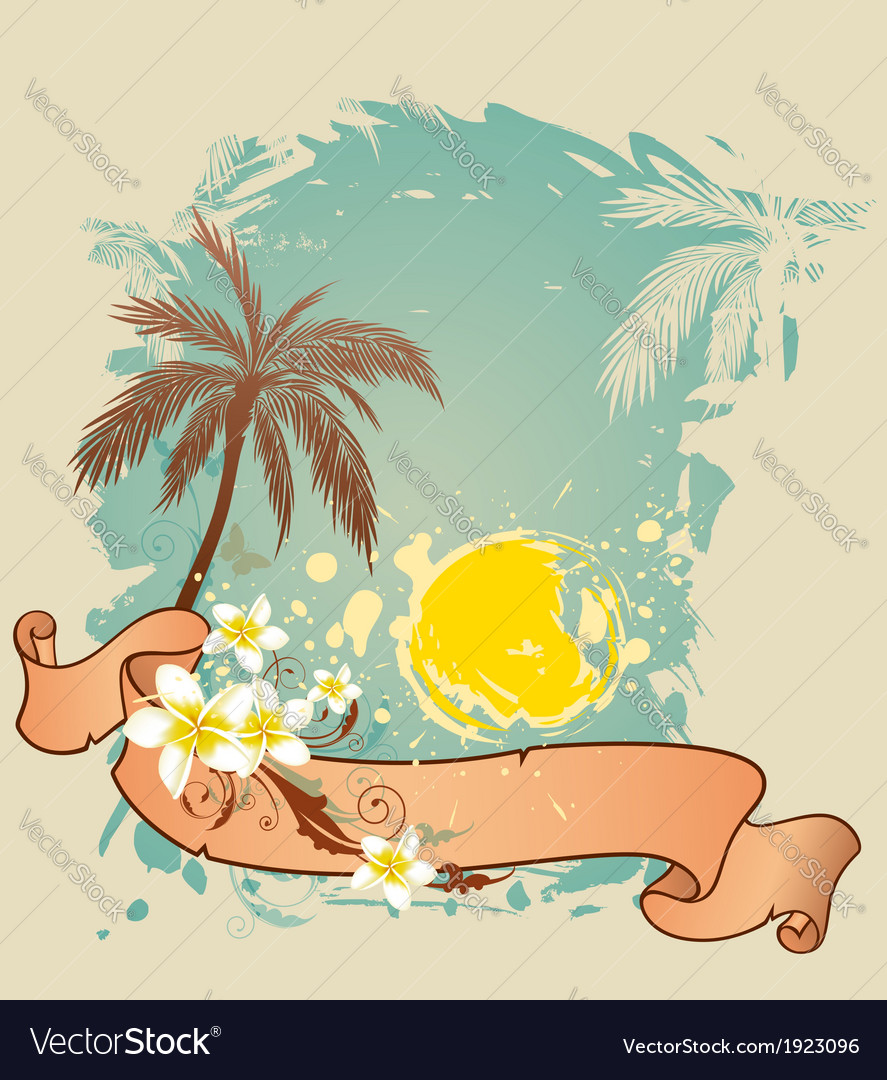 Summer background with palms and sun vector