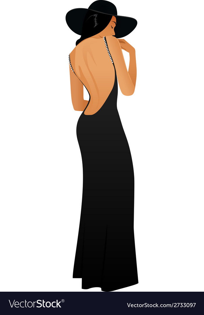 Girl in a long black dress vector