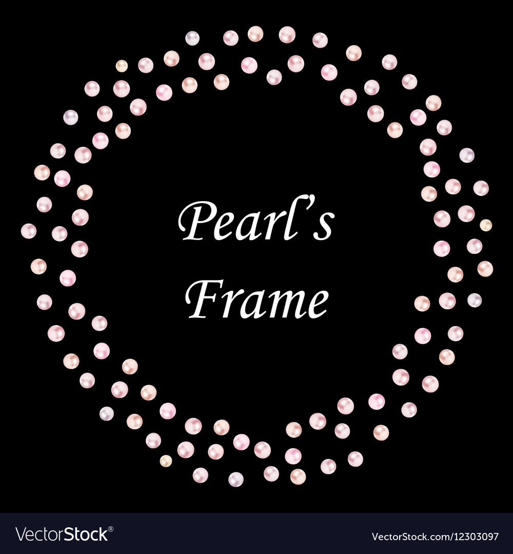 Pearls seamless frame on black background vector