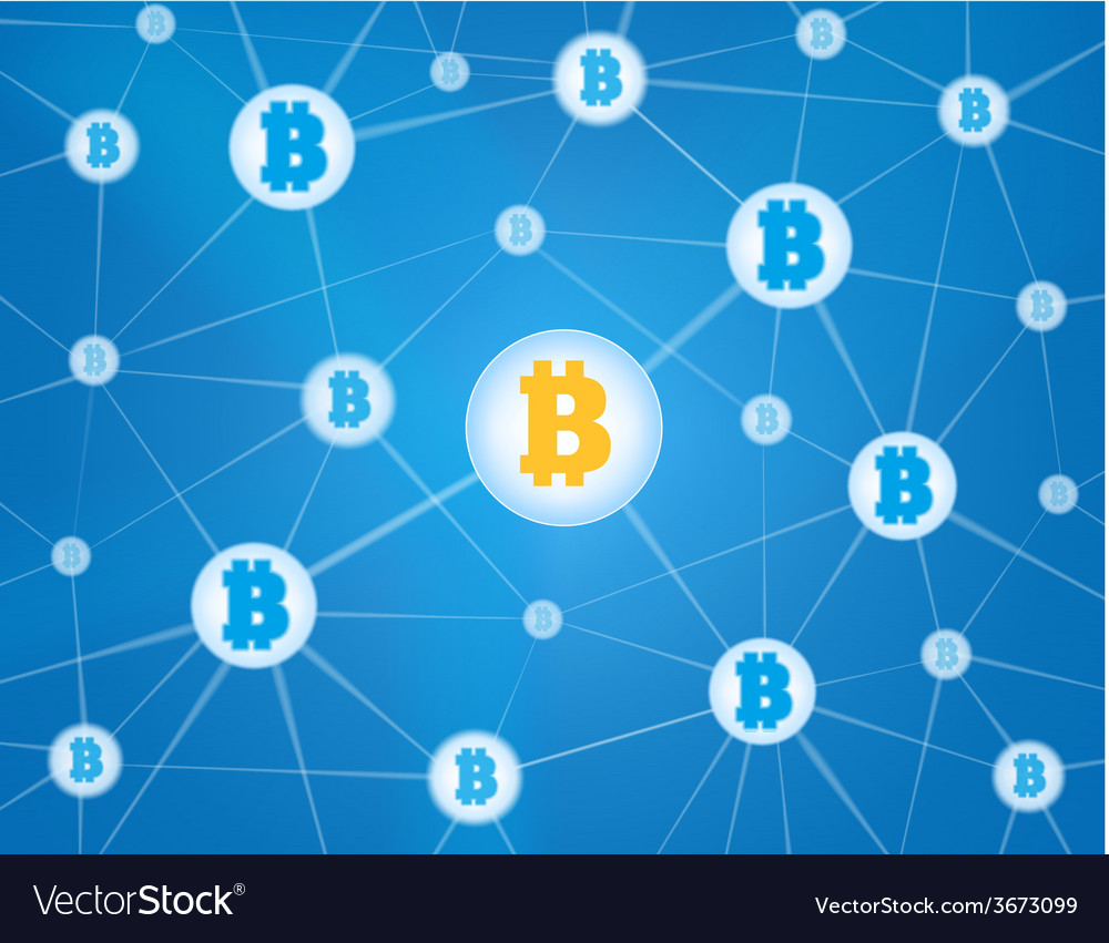 Bitcoin network blue background vector