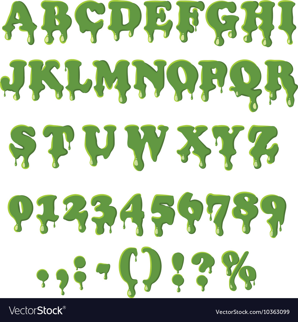 Slime alphabet isolated on white background vector