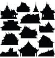 temple building silhouettes vector image vector image