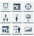 set of 9 management icons includes reminder vector image