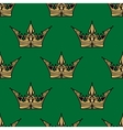 Gold crown on green in a seamless pattern vector image vector image