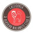 Alaskan malamute club California Tee graphic vector image