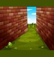 Grass path between buildings vector image