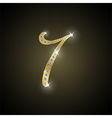 Shiny number seven of gold and diamond vector image