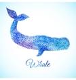 Blue Watercolor whale vector image