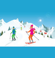 couple skiing in the mountains against blue sky vector image