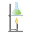 Medical test bottle on Bunsen burner vector image