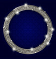 round silver frame with lights on dark background vector image