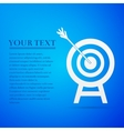 Target with dart in black flat icon on blue vector image