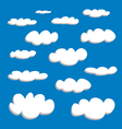 White clouds on summer blue sky background set vector image