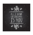 Winter greeting card with text on chalkboard vector image