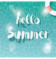 Swimming pool top view typographic hello summer vector image