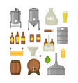 cartoon beer brewing color icons set vector image