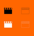cinema clapper black and white set icon vector image