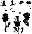 Men silhouettes smoking cigar and pipe vector image