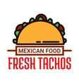Mexican food restaurant linear icon with taco vector image