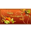 Thanksgiving day card on an orange background vector image
