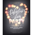 Valentines day Party poster with bright lights vector image