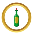 Green bottle of wine icon vector image