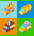 isometric street food trucks with pizza cafe vector image