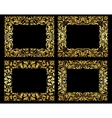 Golden floral frames on black background vector image vector image