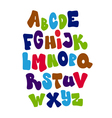 Bright cartoon comic graffiti font alphabet vector image vector image