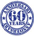 Grunge 60 years anniversary rubber stamp vector image