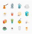 tea and coffee icons set 3d isometric view vector image