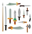 Weapon collection swords knifes axe spear with vector image