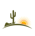 Desert design elements with sun vector image vector image
