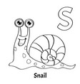 alphabet letter s coloring page snail vector image