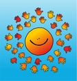 childly smiling and soft touching sun vector image
