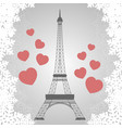 christmas card with eiffel tower vector image