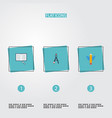 Flat icons wings compass science and other vector image