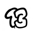 graffiti bubble font number thirteen 13 in black vector image