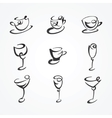 set of cups and glasses vector image