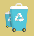 trash can on wheels with recycling symbol vector image