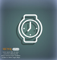 watches icon symbol on the blue-green abstract vector image