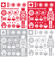 Christmas pattern with nutcracker - set of four de vector image