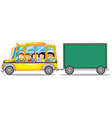 Frame design with kids on bus vector image vector image