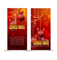 Christmas web banners set with red and gold ball vector image