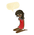 cartoon pretty girl with speech bubble vector image