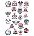 Dartboards with darts symbols for sporting design vector image