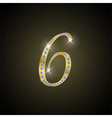 Shiny number six of gold and diamond vector image
