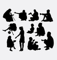 Beggar male and female silhouette vector image